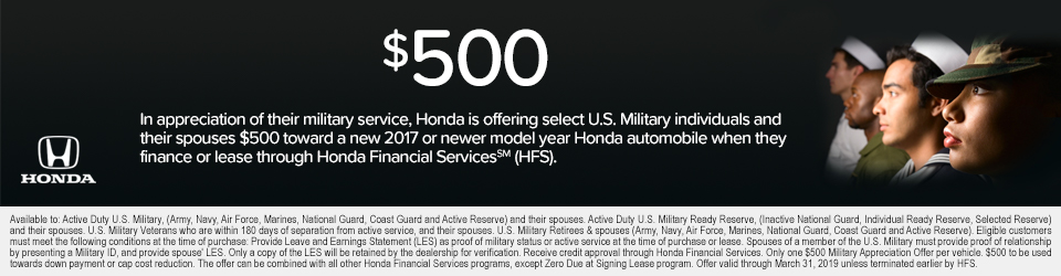 Amazing Payment Does Not Include Dealer Installed Options. $0 Security Deposit. 12K  Miles Per Year. With Approved Credit Through Honda Financial Services.